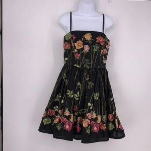 Betsey Johnson Strapless Floral Dress with Straps
